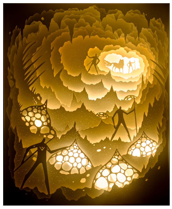 Media Hand Cut Paper Inside A White Shadowbox Illuminated With LED Piece Hangs On Wall Or Sits Shelf And Is Powered Rechargeable Battery Pack